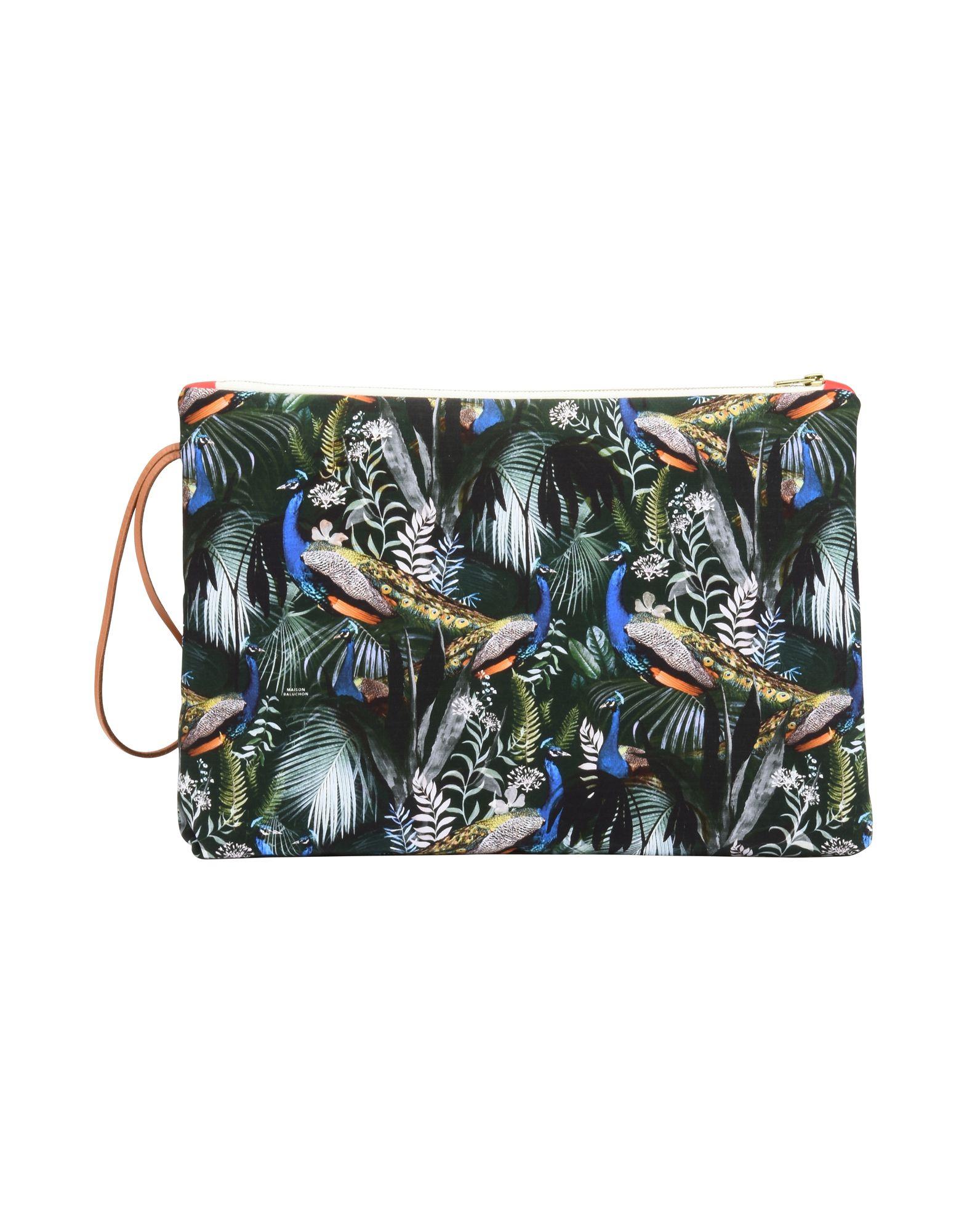 《セール開催中》MAISON BALUCHON レディース ハンドバッグ ダークグリーン 紡績繊維 MAXI CLUTCH
