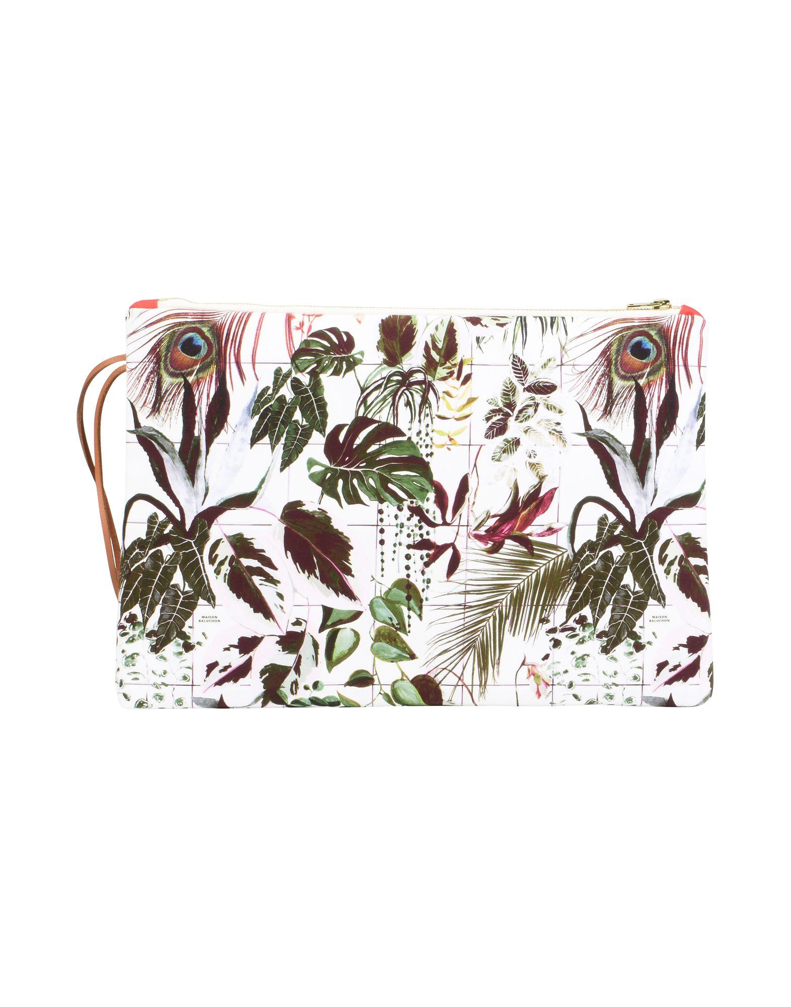 《セール開催中》MAISON BALUCHON レディース ハンドバッグ ホワイト 紡績繊維 MAXI-CLUTCH