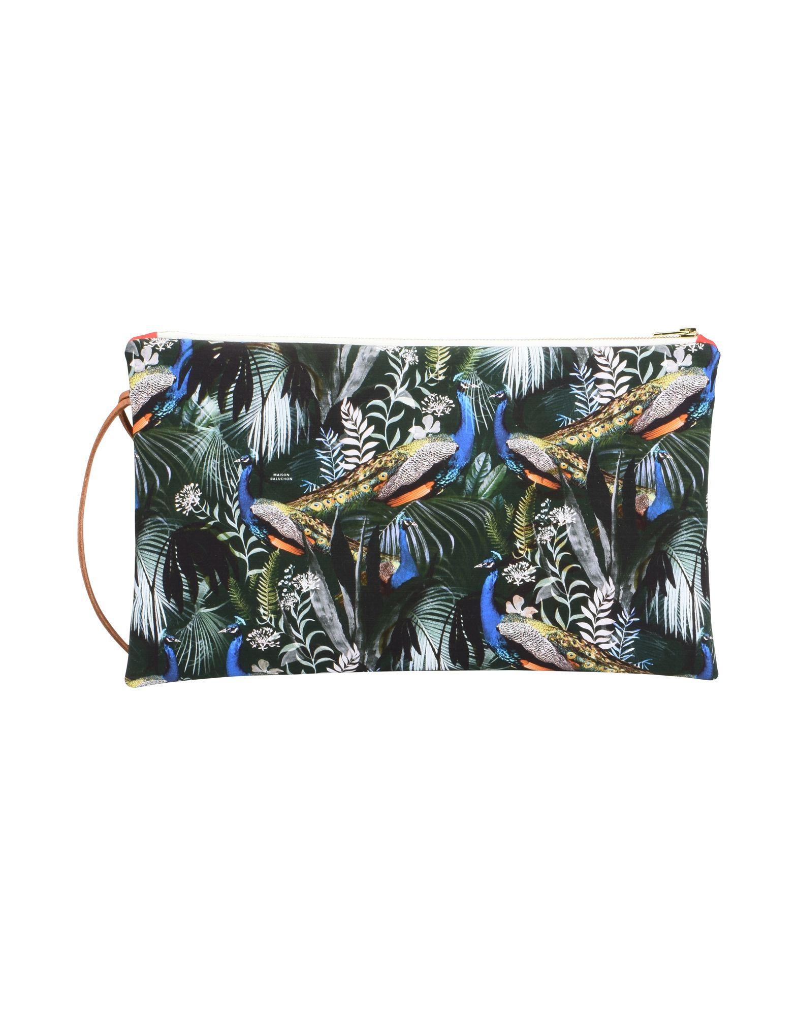 《セール開催中》MAISON BALUCHON レディース ハンドバッグ ダークグリーン 紡績繊維 LONG-POCHETTE