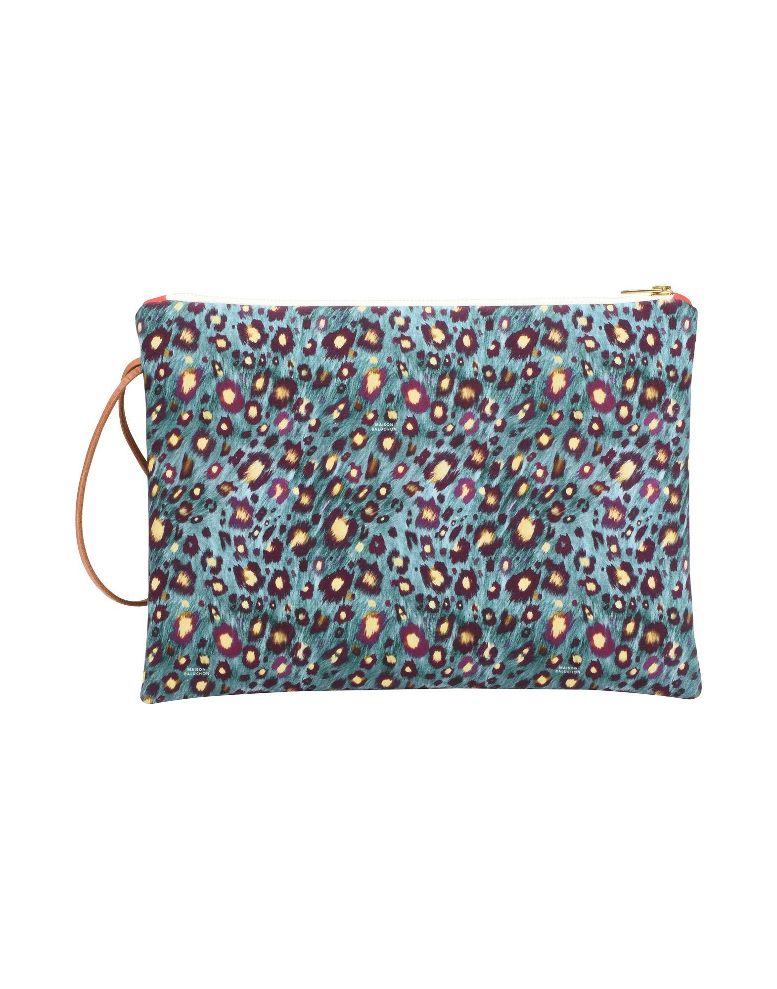 《セール開催中》MAISON BALUCHON レディース ハンドバッグ ディープジェード 紡績繊維 LARGE-CLUTCH