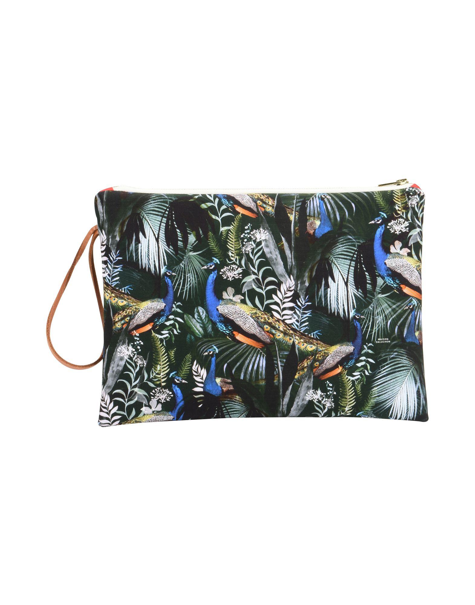 《セール開催中》MAISON BALUCHON レディース ハンドバッグ ダークグリーン 紡績繊維 LARGE CLUTCH