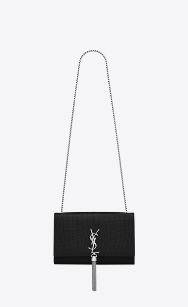 SAINT LAURENT MONOGRAM KATE WITH TASSEL Woman medium kate tassel chain bag in black crocodile embossed leather a_V4