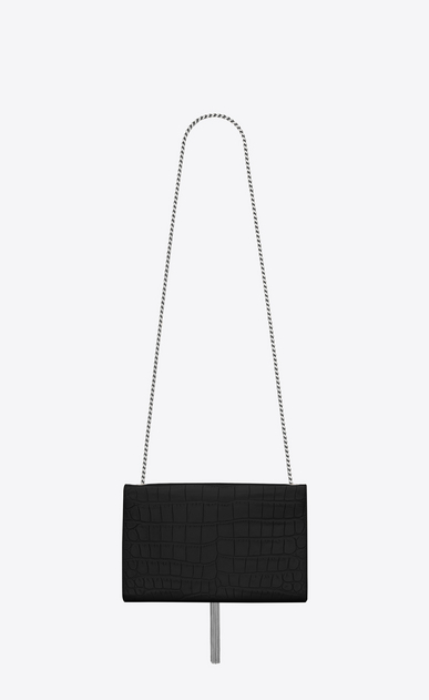 SAINT LAURENT MONOGRAM KATE WITH TASSEL Woman medium kate tassel chain bag in black crocodile embossed leather b_V4
