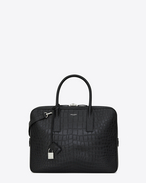 SAINT LAURENT Business U classic small & flat museum briefcase in black crocodile embossed leather  f