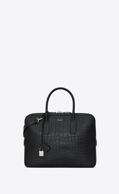 SAINT LAURENT Business Man small & flat museum briefcase in black crocodile embossed leather a_V4