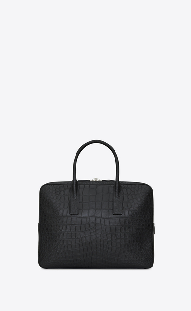 SAINT LAURENT Business Man small & flat museum briefcase in black crocodile embossed leather b_V4