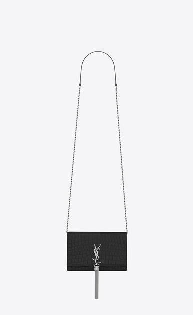 SAINT LAURENT Mini bags Matelassé D kate monogram tassel chain wallet in black crocodile embossed leather a_V4