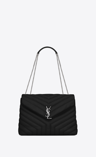 "SAINT LAURENT Monogramme Loulou Woman medium loulou bag in black ""y"" matelassé leather a_V4"