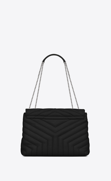 "SAINT LAURENT Monogramme Loulou Woman medium loulou bag in black ""y"" matelassé leather b_V4"