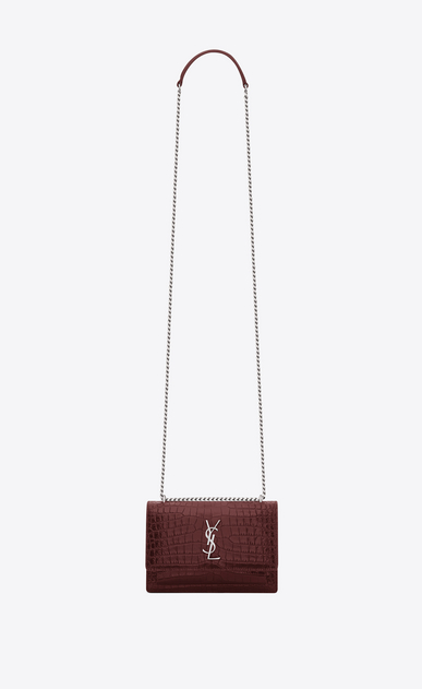 SAINT LAURENT Sunset D sunset monogram chain wallet in dark red crocodile embossed leather a_V4