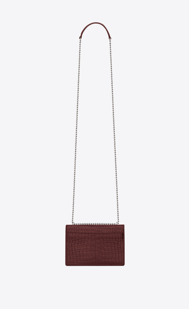 SAINT LAURENT Sunset D sunset monogram chain wallet in dark red crocodile embossed leather b_V4