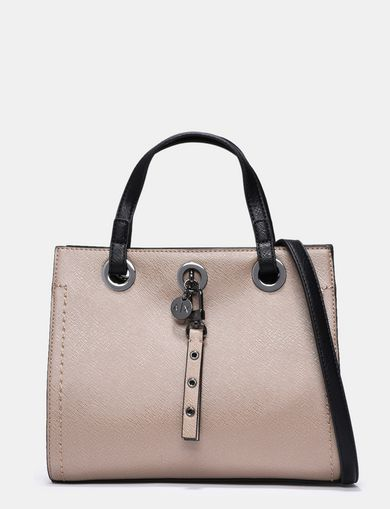 COLORBLOCKED SAFFIANO CHARM SATCHEL