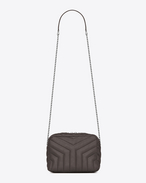 "SAINT LAURENT Monogramme Loulou D classic small loulou bowling bag in grey ""y"" matelassé leather f"