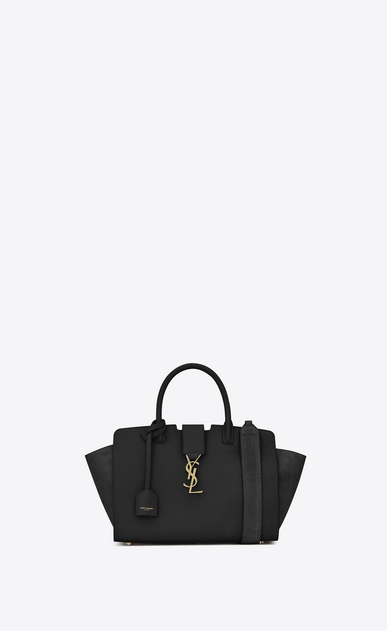 SAINT LAURENT MONOGRAMME TOTE Woman Baby DOWNTOWN leather and suede cabas bag in black a_V4