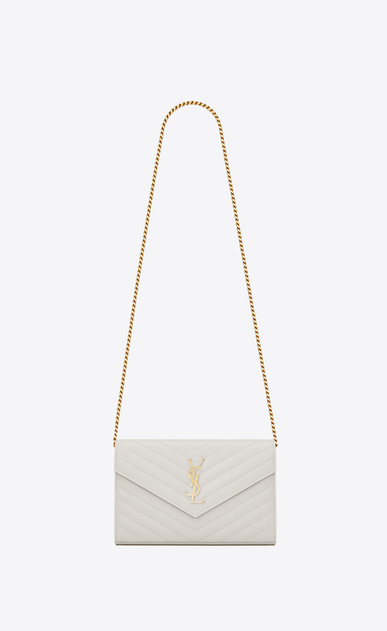 SAINT LAURENT Matelassé chain wallet D chain wallet in dove white grain de poudre textured matelassé leather a_V4