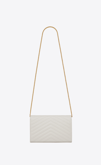 SAINT LAURENT Matelassé chain wallet D chain wallet in dove white grain de poudre textured matelassé leather b_V4