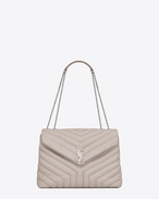 "SAINT LAURENT Monogramme Loulou D Bag Medium LOULOU con catena in bianco ghiaccio matelassé a ""Y"" . f"
