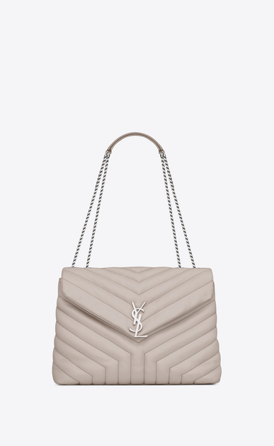 "SAINT LAURENT Monogramme Loulou Woman medium loulou bag in icy white ""y"" matelassé leather a_V4"