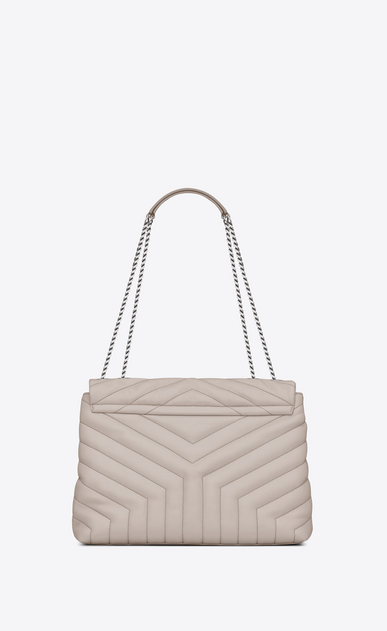 "SAINT LAURENT Monogramme Loulou Woman medium loulou bag in icy white ""y"" matelassé leather b_V4"