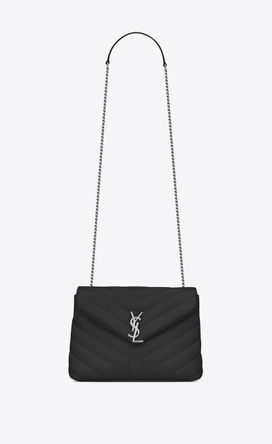 "SAINT LAURENT Monogramme Loulou D Small LOULOU Chain Bag in black ""Y"" Matelassé Leather a_V4"