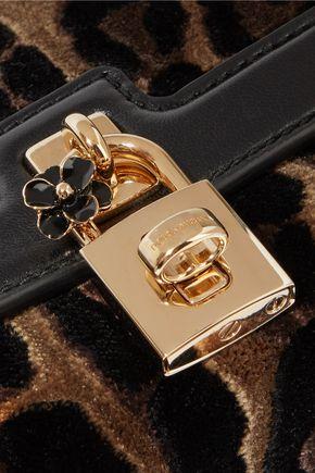 DOLCE & GABBANA Leather-paneled devoré shoulder bag
