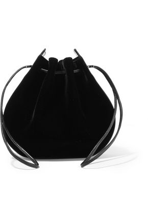 VANESSA SEWARD Caprice patent leather-trimmed velvet shoulder bag