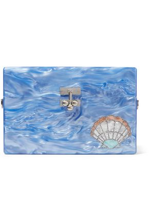 EDIE PARKER Small Trunk Shelly glittered acrylic box clutch