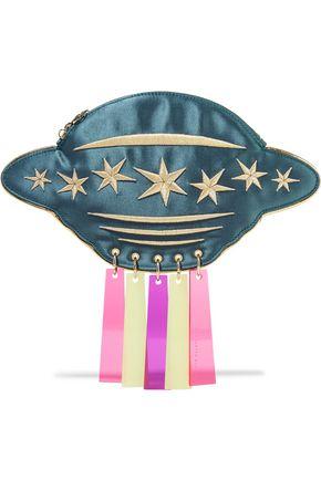 CHARLOTTE OLYMPIA Beam Me Up! metallic embellished embroidered satin shoulder bag