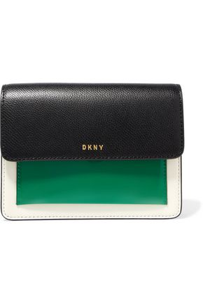 DKNY Bryant Park textured and glossed-leather shoulder bag