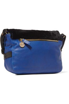 CLARE V. Lou faux fur-paneled textured-leather shoulder bag