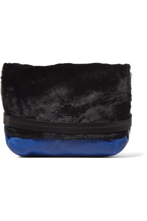 CLARE V. Lou faux fur-paneled textured-leather shoulder bag