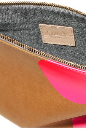 CLARE V. Neon printed suede clutch