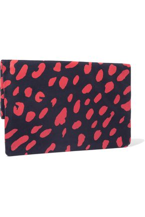 CLARE V. Fold-over printed canvas clutch
