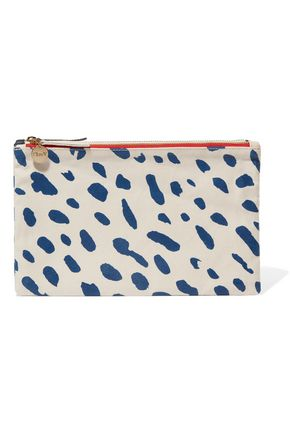 CLARE V. Contrast printed cotton and denim double clutch