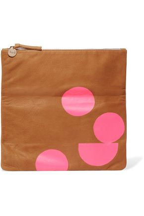 CLARE V. Neon fold-over printed suede clutch