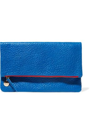 CLARE V. Fold-over textured-leather clutch