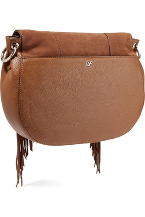 DIANE VON FURSTENBERG Paneled textured-leather and fringed suede shoulder bag