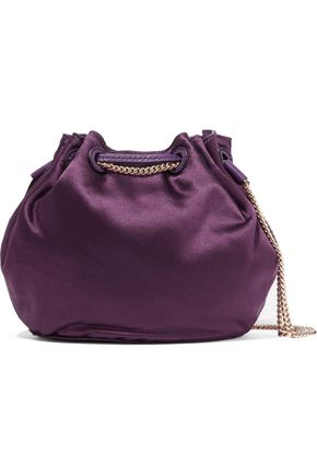 DIANE VON FURSTENBERG Love Power mini leather-trimmed satin bucket bag