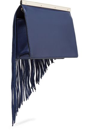 DIANE VON FURSTENBERG Soiree fringed paneled calf hair, smooth and textured-leather clutch