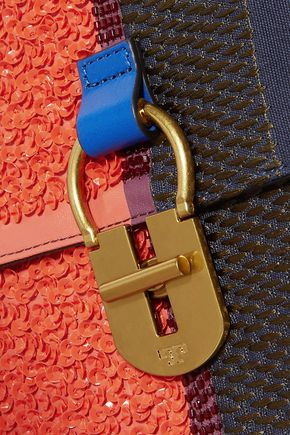 TORY BURCH Paneled sequin and embroidered leather shoulder bag
