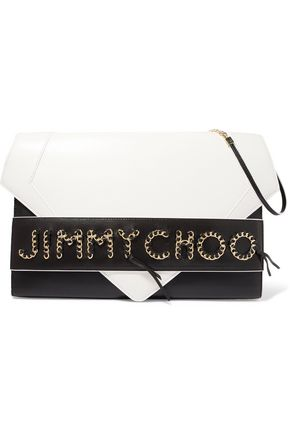 JIMMY CHOO LONDON Chain-trimmed leather shoulder bag