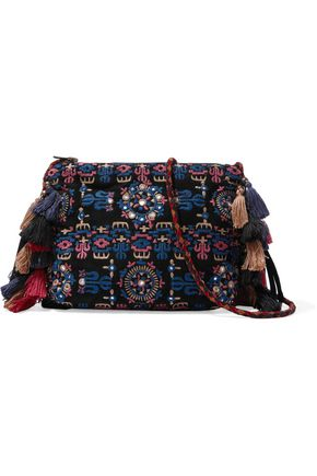 ANTIK BATIK Tassel-trimmed embroidered suede shoulder bag