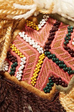 ANTIK BATIK Leather-trimmed embellished cotton-canvas clutch