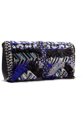 ANTIK BATIK Leather-trimmed embellished cotton-canvas clutch