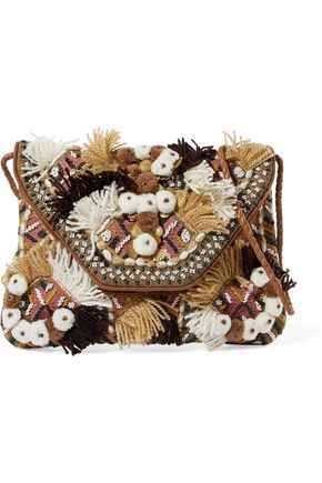 ANTIK BATIK Bead-embellished embroidered cotton-canvas shoulder bag