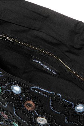 ANTIK BATIK Embellished cotton-canvas shoulder bag