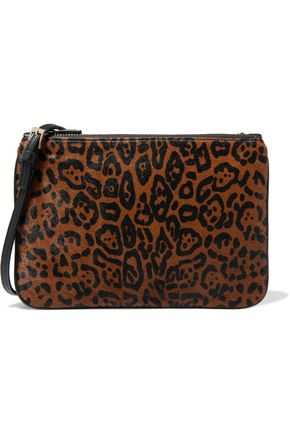 SANDRO Printed calf hair and leather shoulder bag