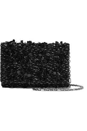 OSCAR DE LA RENTA Embellished satin and suede clutch