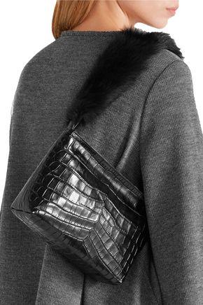 ELIZABETH AND JAMES Finley faux fur-trimmed croc-effect leather shoulder bag