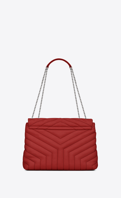 "SAINT LAURENT Monogramme Loulou Woman medium loulou chain bag in lipstick red ""y"" matelassé leather  b_V4"